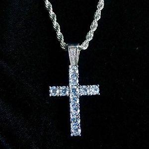 Other - CROSS 18K GOLD FULL DIAMONDS CZ CHAIN ITALY